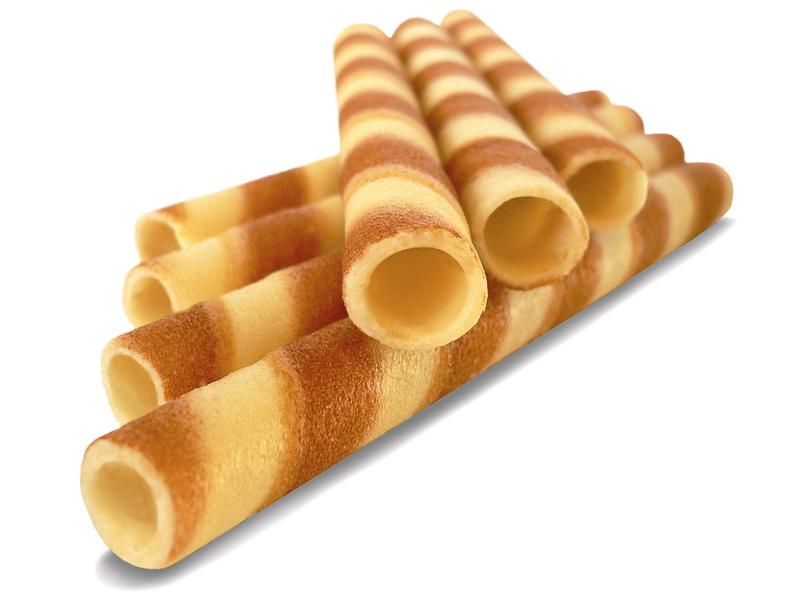 Vafliniai vamzdeliai su vaniliniu įdaru