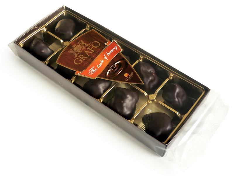 """GRAFO"" slyvos juodame šokolade 140g."