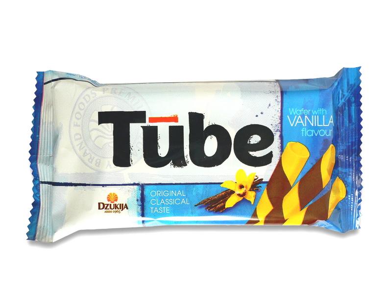"""Vafliniai vamzdeliai """"Tube"""" su vanile"""