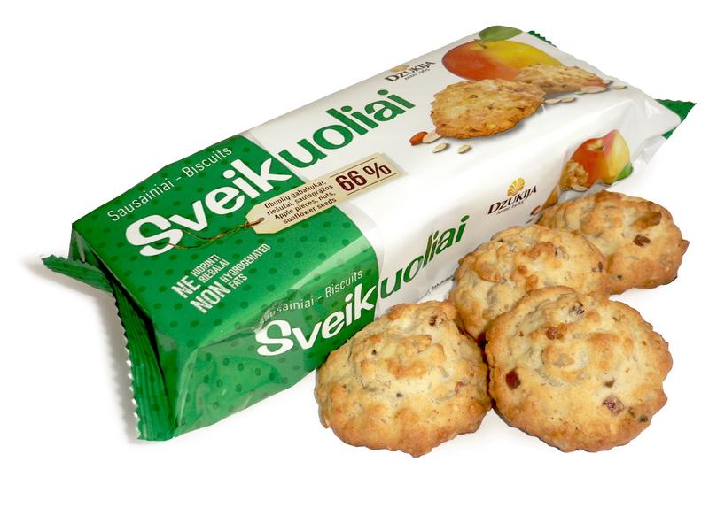"""Sausainiai """"SVEIKUOLIAI"""" su obuolių gabaliukais"""